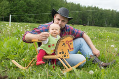 Father and daughter cowboy style Royalty Free Stock Image