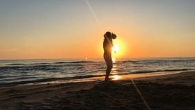 Father and daughter dancing on the beach. stock video footage