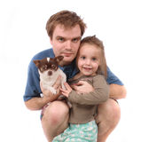 Father daughter and dog Royalty Free Stock Images