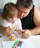 Father and daughter Drawing Stock Images