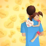 Father and Daughter. Easy to edit vector illustration of father holding daughter in Father's Day vector illustration