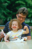 A father and daughter eating ice cream, Westfield, NY Stock Photography