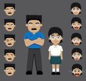 Father daughter emotion faces cartoon vector illustration Stock Photos