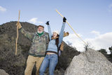 Father And Daughter Enjoying On Hiking Trip Stock Image