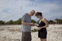Father and daughter examining shells. Father and daughter inspecting shells and rocks daughter has collected in her hand from the sand on the beach.  Cooper Jack Royalty Free Stock Image