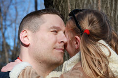 Father and daughter, eye to eye Royalty Free Stock Photography