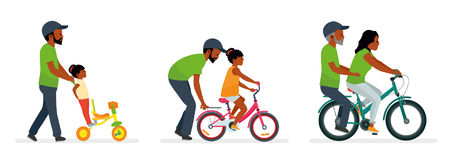 Father and daughter. Father helping daughter to ride a bike. The daughter takes the father on a bike. People generation vector illustration