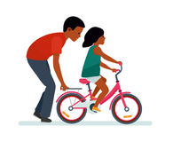 Father and daughter. Father helping daughter to ride a bike. White background. African American people. Happy family. Vector illustration flat cartoon style vector illustration