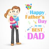Father and daughter in in Father's Day. Illustration of father holding daughter in his arm in Father's Day royalty free illustration