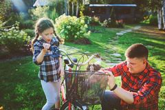 Father and daughter fixing problems with bicycle outdoor in summer. royalty free stock photo