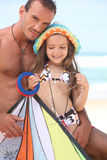 Father and daughter flying kite Royalty Free Stock Photo