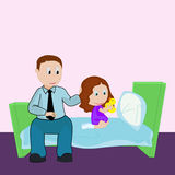 Father and daughter. Girl plays in rubber duck and father sits near her. Father and daughter. Bedtime. Girl plays in rubber duck and father sits near her stock illustration