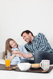 Father and daughter giving himself a hug Royalty Free Stock Photo