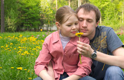 The father and the daughter on a green meadow. With dandelions Stock Image