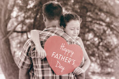 Father and daughter with Happy fathers day royalty free stock image