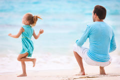 Father and daughter at beach Stock Image