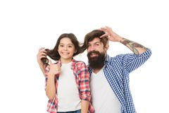 Father and daughter having fun. Child and dad best friends. Friendly relations. Parenthood and childhood. Fathers day. Concept. Lovely father and cute kid royalty free stock photo