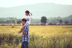 Father and daughter having fun to play together in the cornfield Royalty Free Stock Image
