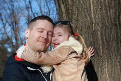 Father and daughter, head to head Royalty Free Stock Photo