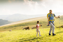 Father and daughter hiking Royalty Free Stock Image