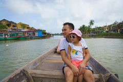Father and daughter in Hoi An, Vietnam. Father and daughter on a boat in Hoi An, Vietnam Stock Photos