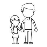 Father and daughter holding hands thin line Stock Images