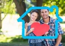 Father and daughter holding a heart shape Stock Photography