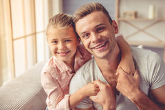 Father and daughter at home stock image