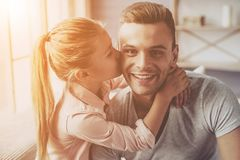 Father and daughter at home stock photography