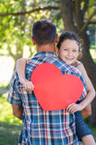 Father and daughter hugging in the park. On a sunny day royalty free stock photo