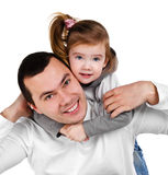 Father and daughter hugging smiling Stock Photography