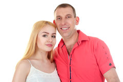 Father and daughter. The father hugs the beautiful and beloved daughter on white background royalty free stock photo