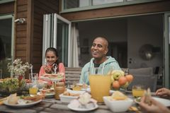 Breakfast Outside Holiday Cottage Royalty Free Stock Photos