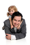 Father and Daughter Laying On Floor Stock Image