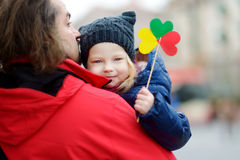 Father and daughter with lithuanian flag Stock Photo