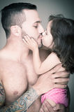 Father and daughter,  man with tattoo Royalty Free Stock Photo