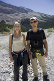 Father and daughter mountain hiking Royalty Free Stock Image