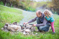 Father and daughter on the nature Stock Image