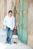 Father and daughter outdoors in city Stock Images