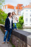 Father and daughter outdoors in a city Royalty Free Stock Photo