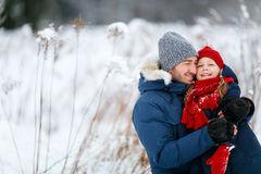 Father and daughter outdoors at winter Royalty Free Stock Photography