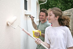 Father Daughter Paint Horizontal Stock Images