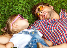 Father with daughter In Park smiling happy royalty free stock images