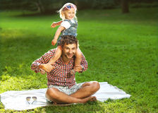 Father with daughter In Park smiling happy royalty free stock photos