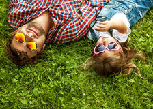 Father with daughter In Park smiling happy stock photography