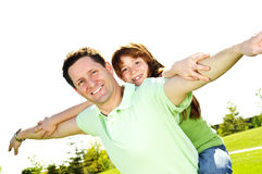 Father and daughter piggyback Royalty Free Stock Images