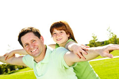 Father and daughter piggyback Royalty Free Stock Image