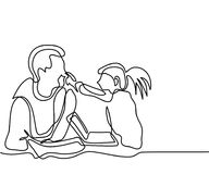 Father and daughter play with laptop. Continuous line drawing. Vector illustration royalty free illustration