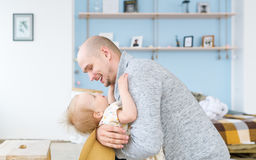 Father and daughter playing stock photos