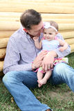 Father and daughter. Playing outside on the farm Royalty Free Stock Photo